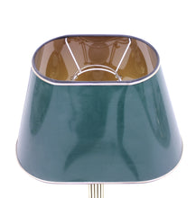 Load image into Gallery viewer, Tall neoclassical brass table lamp with green lacquered shade, 1970s