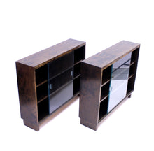 Load image into Gallery viewer, Functionalist Art Deco vitrine book shelves, set of 2, 1930s