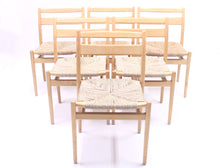 Load image into Gallery viewer, Scandinavian stackable birch chairs with rope seat, 1960s
