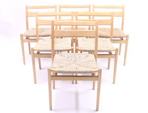 Scandinavian stackable birch chairs with rope seat, 1960s