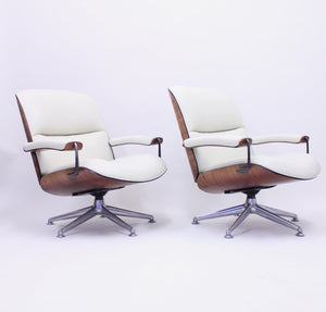 Ico & Luisa Parisi, pair of swivel lounge chairs for MIM, 1950s
