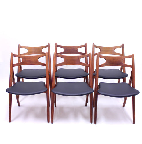 Hans Wegner, CH-29 Sawbuck chairs for Carl Hansen & Son, 1950s, set of 6