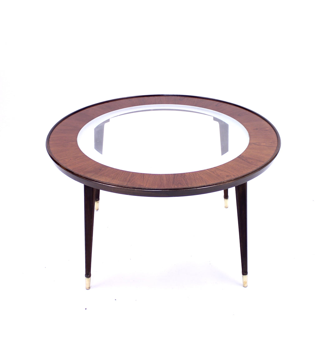 Mid-century Scandinavian glass and rosewood coffee table, ca 1950s