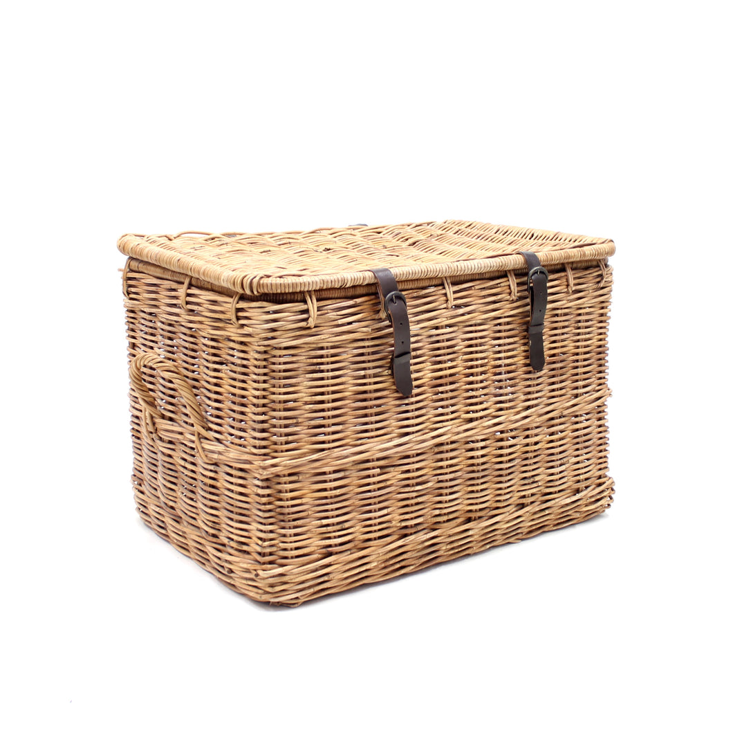 Vintage oversized mid-century wicker laundry basket, 1950s