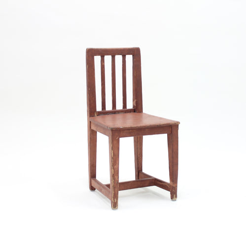 Antique Swedish rustic pine child chair, mid 19th century