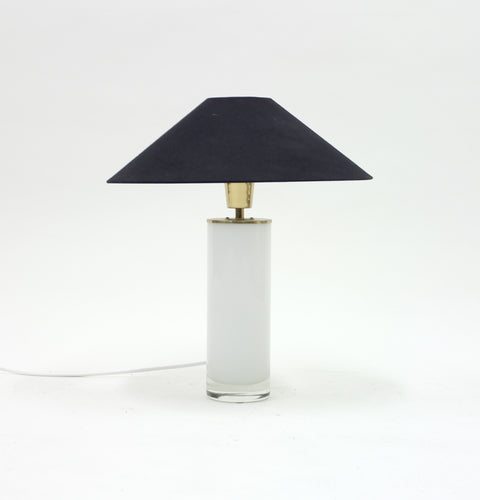 Opaline glass and brass table lamp, FAB, 1960s