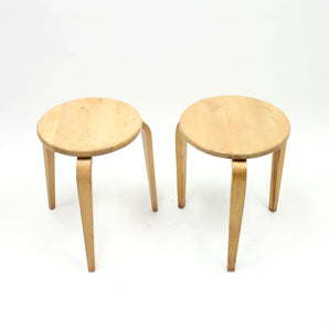 G.A. Berg, pair of birch stools, 1940s