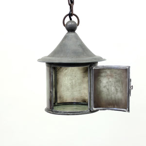 Arts & Crafts iron and glass lantern, early 20th century