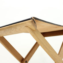 Load image into Gallery viewer, Oak and leather folding stool by Östen Kristiansson for Luxus, 1960s