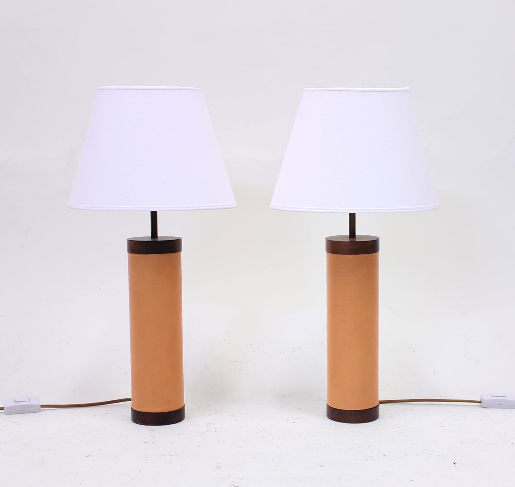 Pair of rosewood and leather table lamps, attributed to Bergboms, 1960s