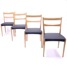 Load image into Gallery viewer, Scandinavian oak dining chairs with black leather seats, 1950s
