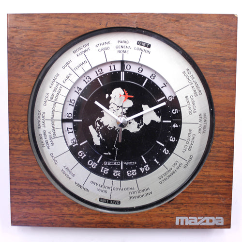 Seiko world timer GMT table clock, quartz movement with sweeping seconds, 1980s