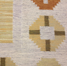 Load image into Gallery viewer, Swedish flat weave Röllakan carpet signed W, 1950s