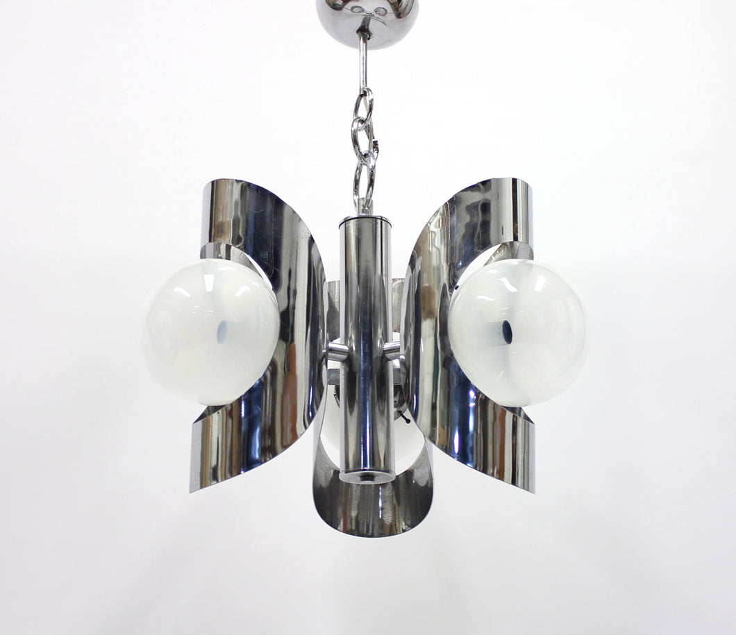 Italian three light chromed ceiling light, 1960s