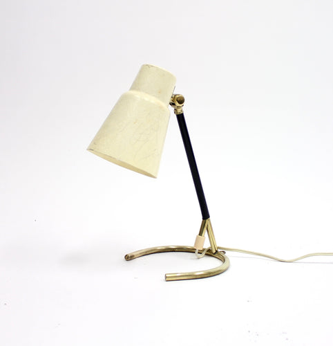 Swedish brass table lamp with fibreglass shade, 1950s