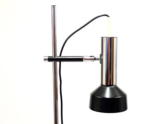 Vintage 1970's black and chrome plated floor light
