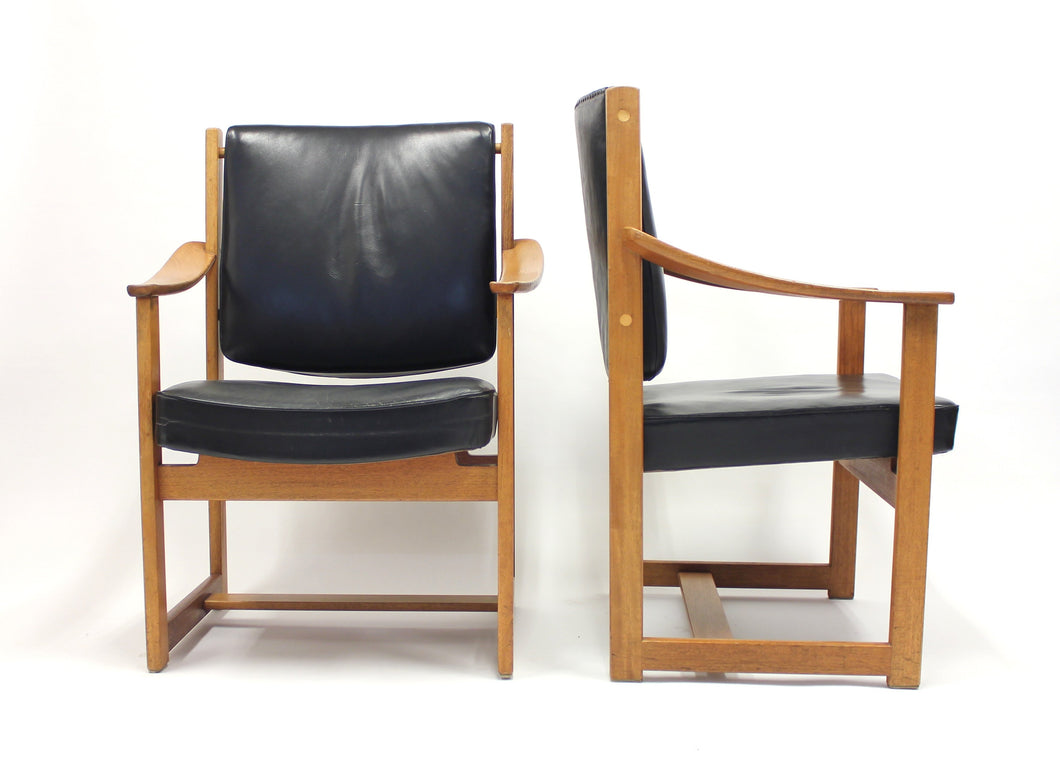Rare pair of special commissioned Sven Kai Larsen arm chairs made by Nordiska Kompaniet, 1960s