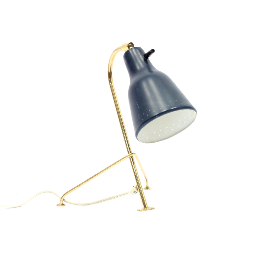 Scandinavian tripod brass table lamp, 1950s