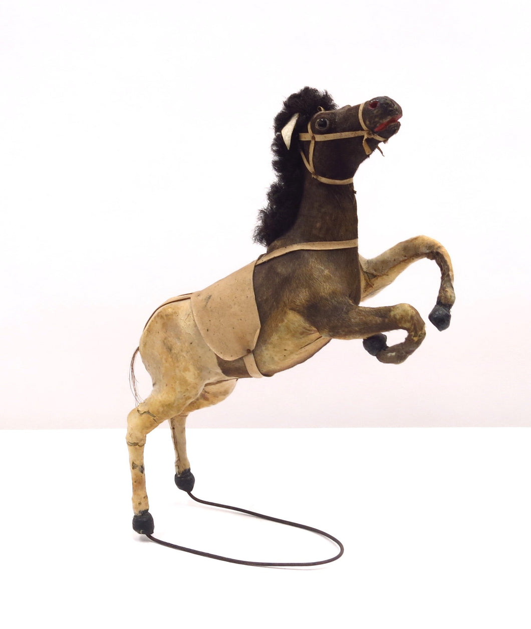Charming early 20th century toy horse sculpture made of real horse hair