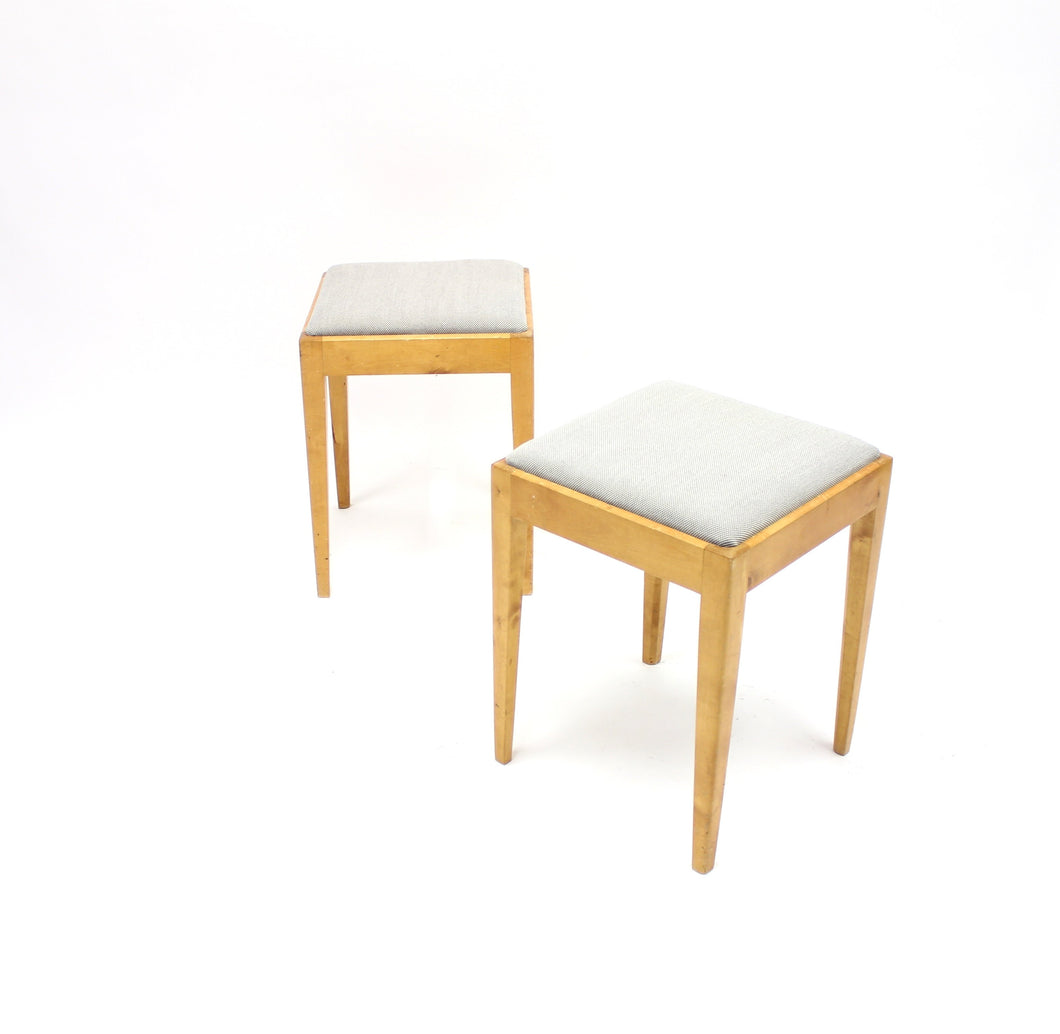 Swedish birch functionalist stools, 1940s, set of 2
