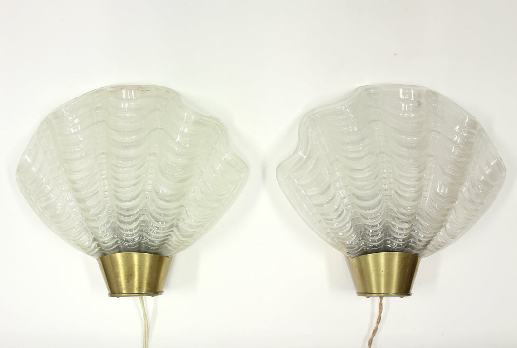 Shell Shaped Model Coquille Wall Sconces from ASEA, 1940s, Set of 2