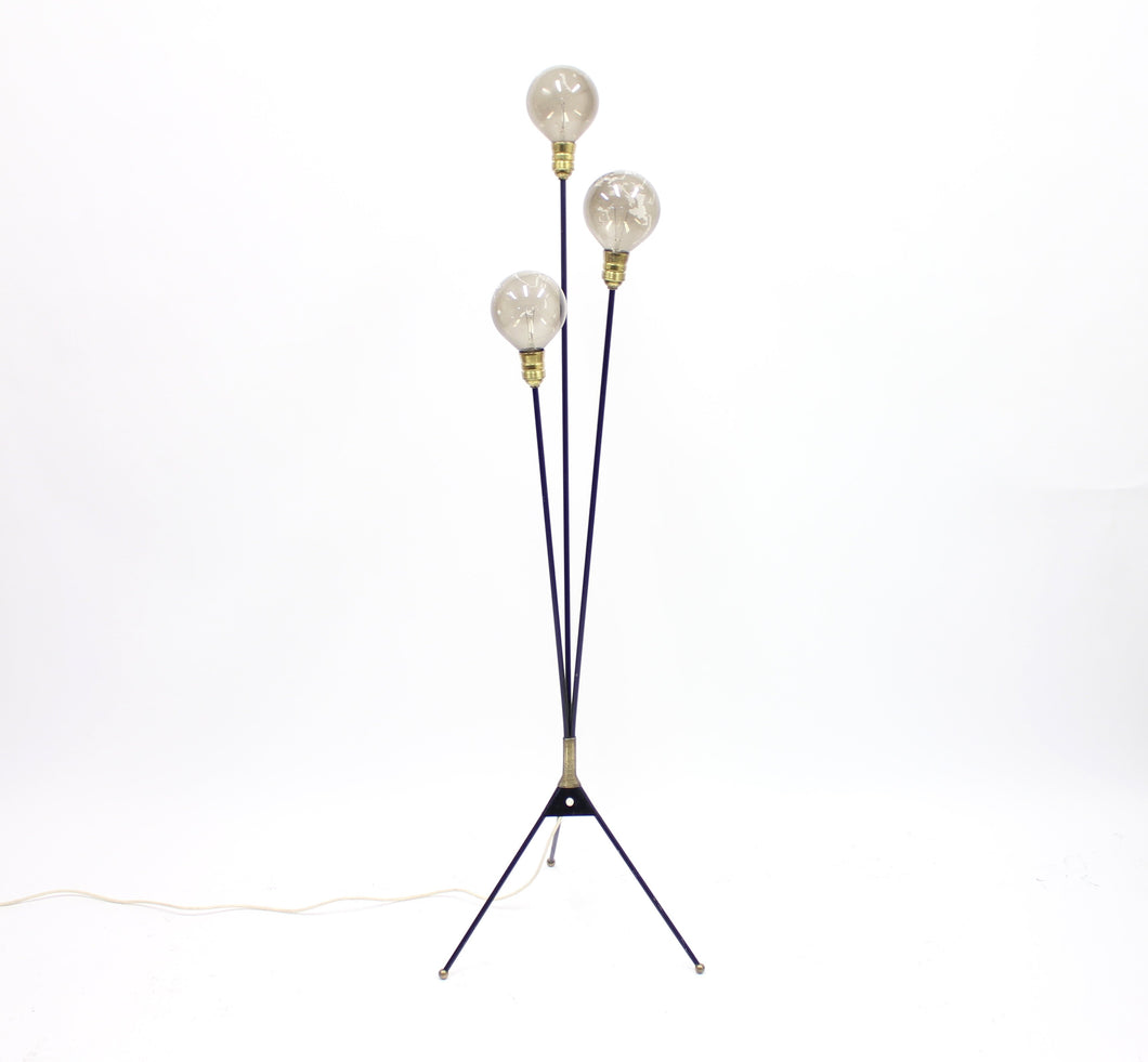 Swedish 3 light floor lamp with tripod base, 1950s