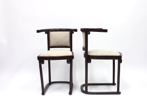 Cabaret Fledermaus chairs by Josef Hoffmann for Thonet, Set of 2