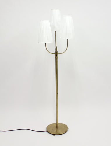 Vintage Three-Light Brass Floor Lamp, 1940s