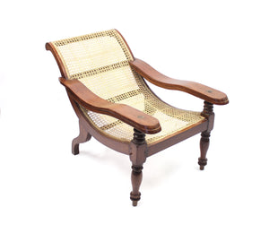 Antique Burmese Colonial Plantation Chair with Rattan Seat, late 19th century
