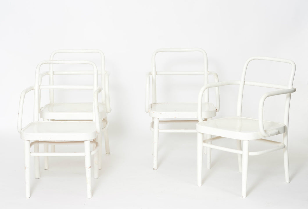 Rare set of Austrian A 64 F White Bentwood Chairs by Adolf Schneck for Thonet, 1929, Set of 4