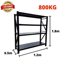 1.2m*1.8m*0.5m Metal Shelving 800KG BLACK