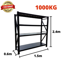 1.5m*2.4m*0.6m Metal Shelving 1000KG BLACK
