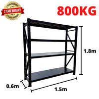 1.5m*1.8m*0.6m Metal Shelving 800KG BLACK