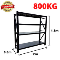 2m*1.8m*0.6m Metal Shelving 800KG BLACK