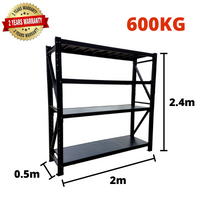 2m*2.4m*0.5m Metal Shelving 600KG BLACK