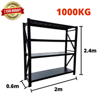 2m*2.4m*0.6m Metal Shelving 1000KG BLACK