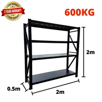 2m*2m*0.5m Metal Shelving 600KG BLACK