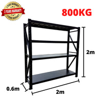 2m*2m*0.6m Metal Shelving 800KG BLACK