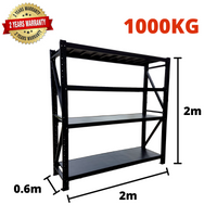 2m*2m*0.6m Metal Shelving 1000KG BLACK