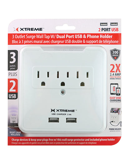 Xtreme 3 Outlet Surge Wall Tap with Dual USB Ports