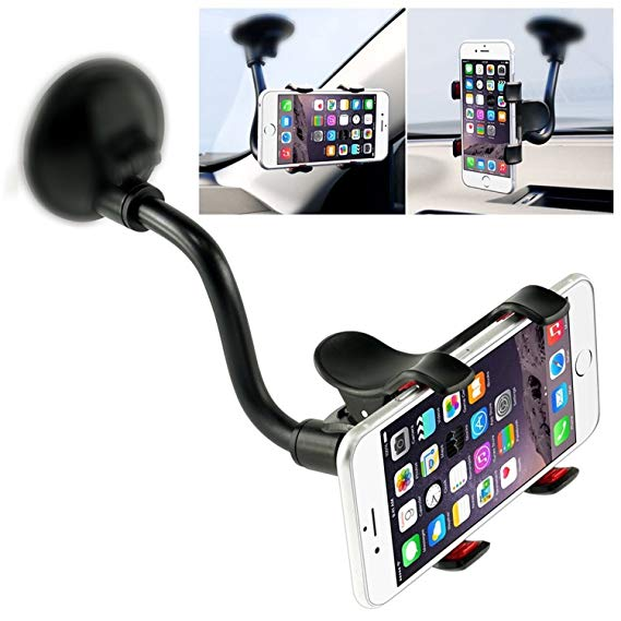WINDSHIELD PHONE MOUNT CLAMP STYLE GRIP - LONG NECK
