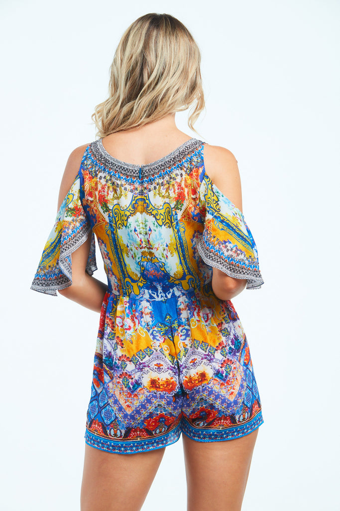 LIVE IN THE MOMENT ROMPER W FLUTTERY SLEEVES