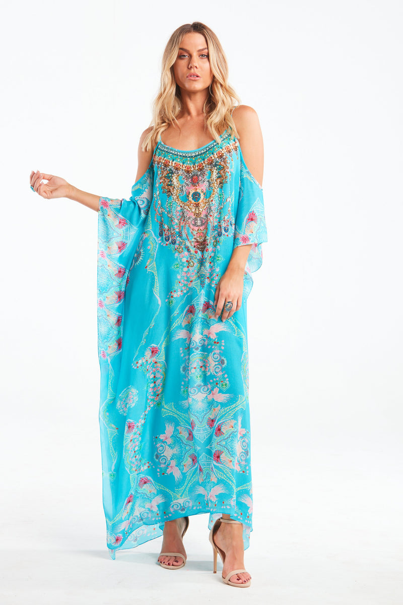 FEEL THE SKY COLD-SHOULDER LONG KAFTAN