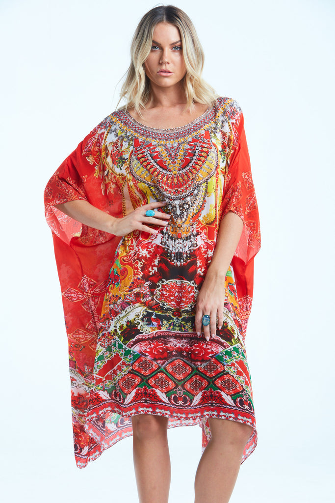 ENDLESS STORIES ROUND NECK SHORT KAFTAN
