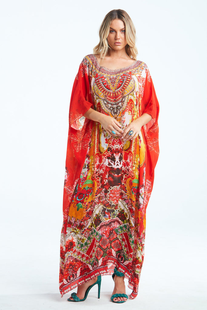 ENDLESS STORIES ROUND NECK LONG KAFTAN