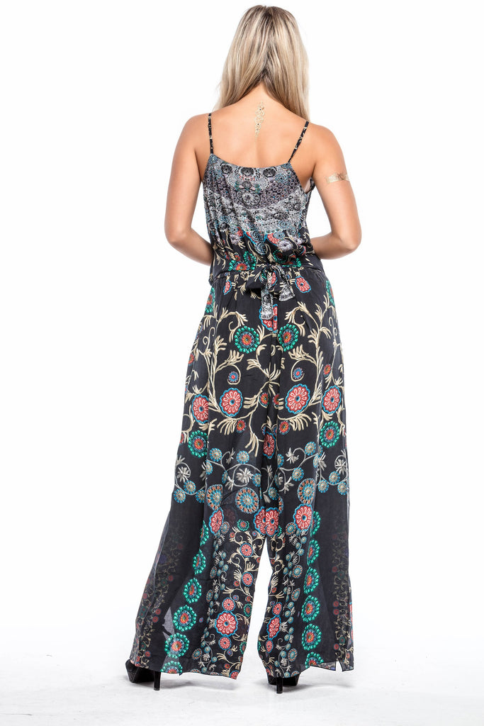 BLACK MILLEFORI 100% SILK JUMPSUIT