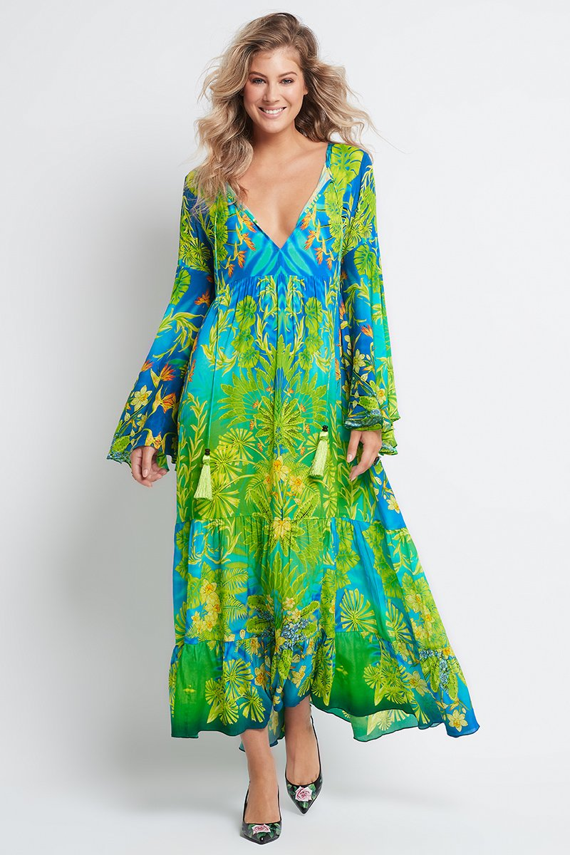 BETWEEN THE RAINDROPS MAXI DRESS WITH BELL SLEEVES
