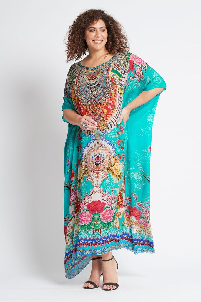 ONCE IN A BLUE MOON ROUND-NECK LONG KAFTAN
