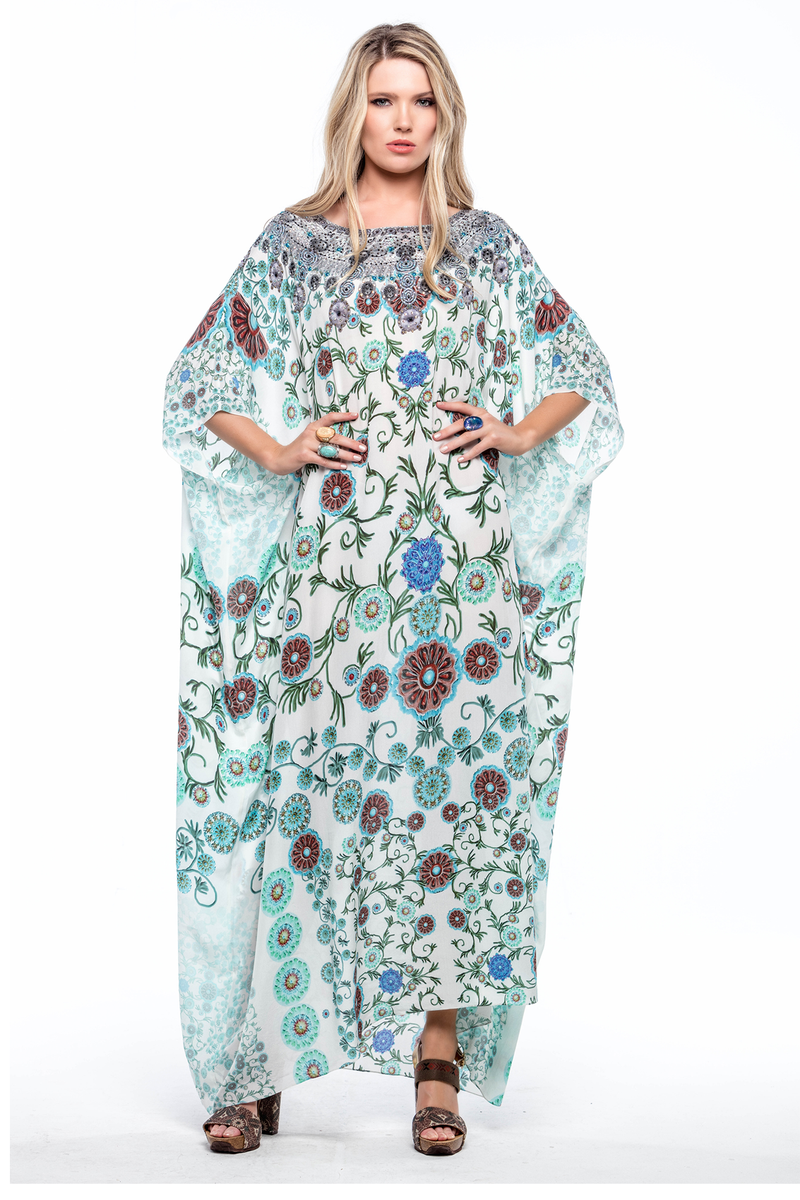 WHITE MILLEFORI ROUND-NECK LONG KAFTAN