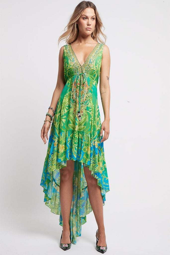 BETWEEN THE RAINDROPS V NECK HI LOW DRESS - Czarina